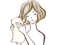 タオルで水気を切るイメージ